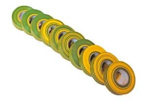 green and yellow insulation tape