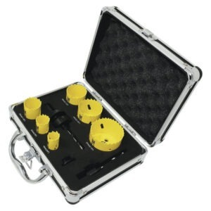 Spectre holesaw set 9 piece set with 6 holesaws, arbors and pilot drill in case. 19mm 22mm 29mm 38mm 44mm 57mm