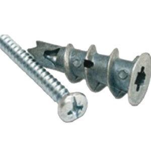 Twister 35mm metal plasterboard fixing cavity anchor. Screw in twist type