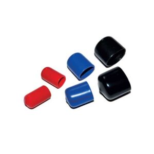 image of coloured (red/blue/black) silicone moulded end barrier caps 10mm 15mm 22mm 28mm