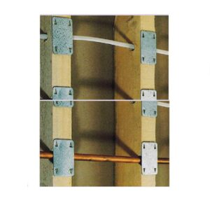 Metal Safeplate. protects pipes and cables from screws. nails and sharp objects. 45mm x 90mm.